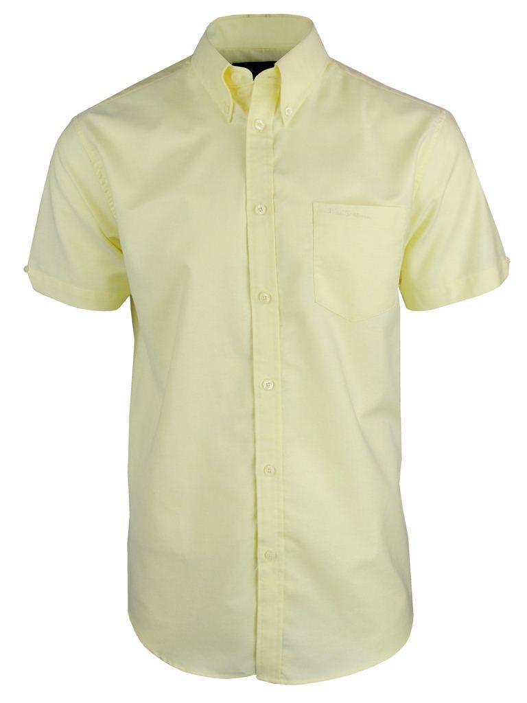 Mens ben sherman classic 39 eton 39 oxford shirt plain short for Mens button down shirts