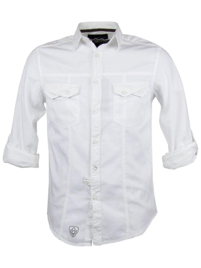 Mens-Designer-Fashion-Shirt-Roll-Up-White-amp-Black