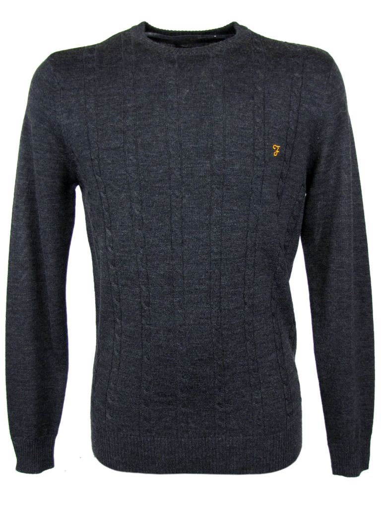 Mens Farah Vintage Merino Wool Kingston Cable Knit Grey Enlarged Preview