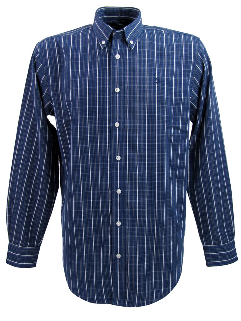 Mens Farah Check Shirt Long Sleeves Chest Pocket Logo Enlarged Preview