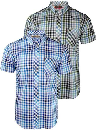 Mens Ben Sherman Shirt S/S Multi Gingham Check Antique Olive Or Blaze Blue Preview