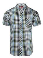 Mens Ben Sherman Shirt S/S Multi Gingham Check Antique Olive Or Blaze Blue Thumbnail 2