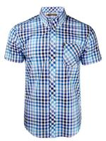 Mens Ben Sherman Shirt S/S Multi Gingham Check Antique Olive Or Blaze Blue Thumbnail 4