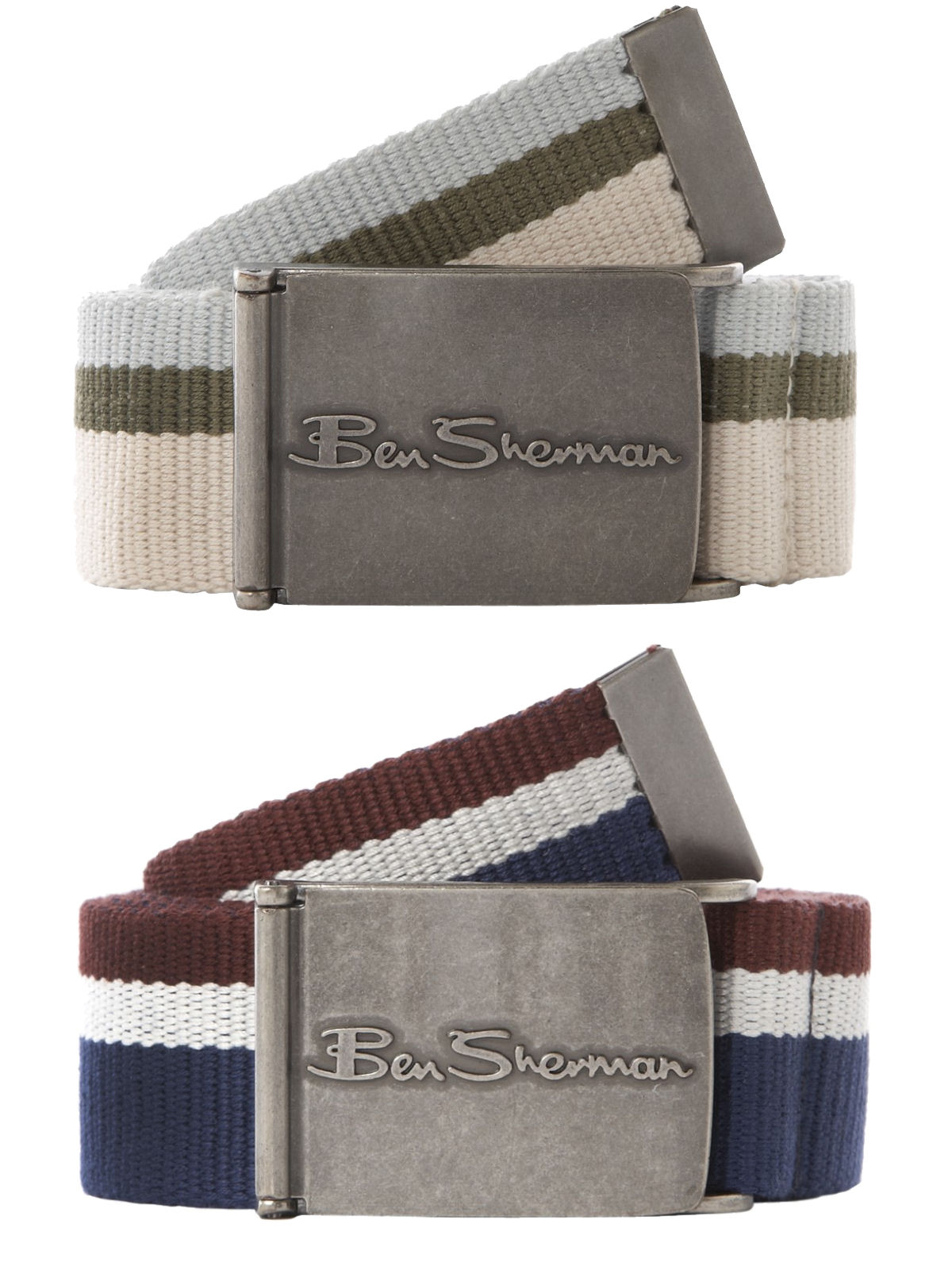 Mens Ben Sherman Canvas Webbing Belt Hinge Buckle Enlarged Preview