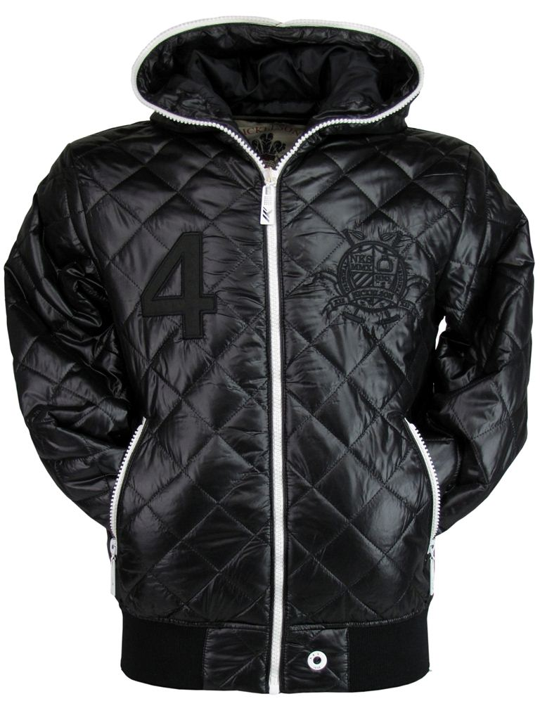 Nickelson mens quilted hoodie jacket coat black ebay for Quilted jackets for men