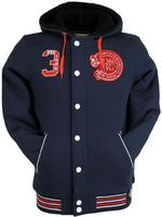 Nickelson Mens Fleece Lined Winter Letterman Hoodie Jumper/ Jacket Navy