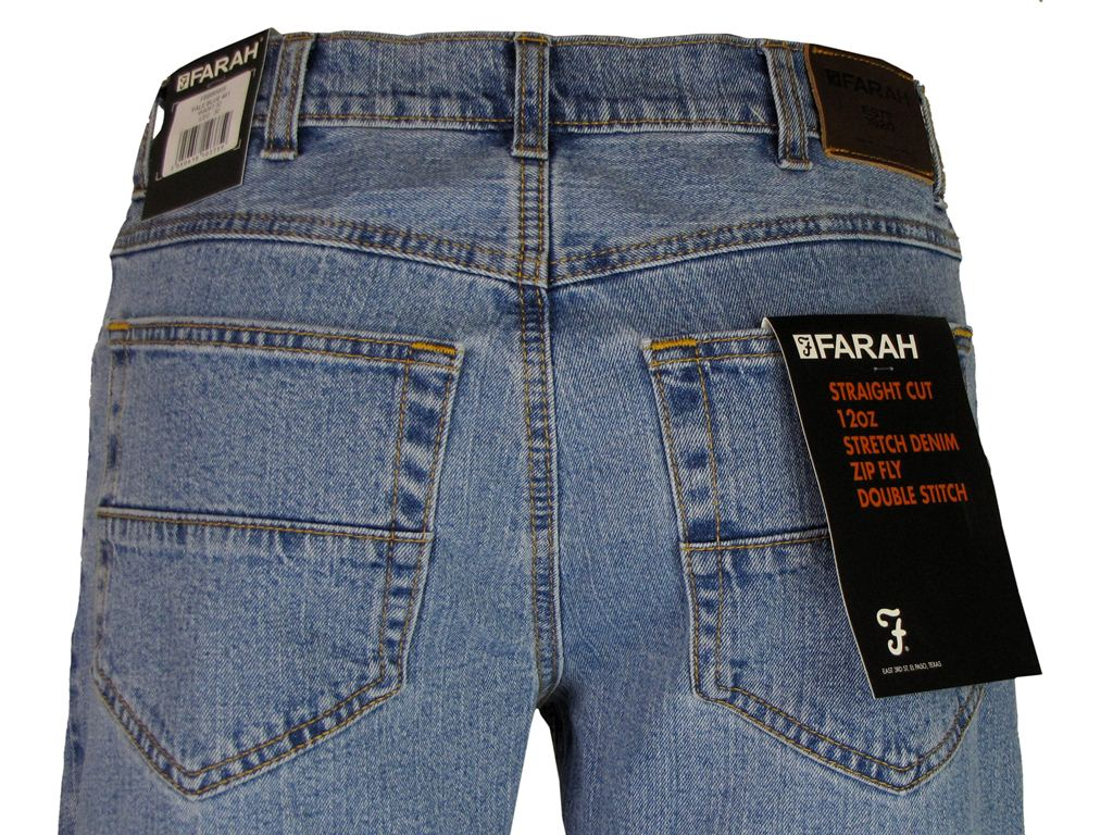 Mens-Farah-Jeans-12-Oz-Denim-Straight-Cut-Zip-Fly