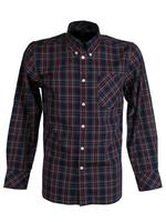 Mens Merc London 'Neddy' Shirt Long Sleeved Mod Retro Button Down Collar Navy