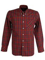 Mens Merc London 'Neddy' Shirt Mod Retro Long Sleeved Button Down Collar Red