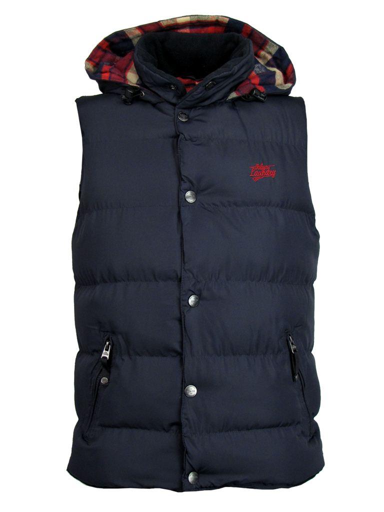 mens tokyo laundry gilet body warmer hoodie jacket checked. Black Bedroom Furniture Sets. Home Design Ideas