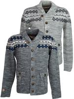 Mens Tokyo Laundry Fair Isle Shawl Neck Button Cardigan Jumper 'Saru'