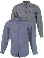Mens Dissident Gingham Check Shirt Long Sleeve Button Down Navy Or Black