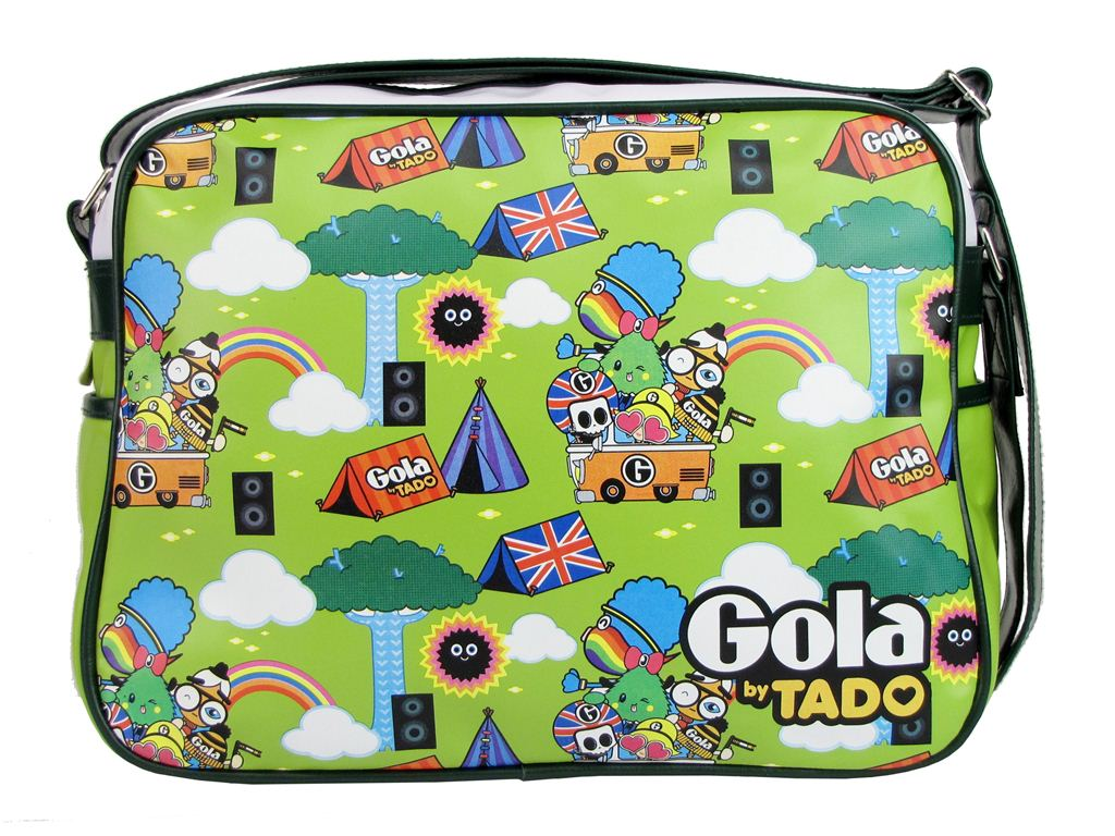 Gola By Tado Tepee Redford Messenger Record Bag Retro Lime Green White Enlarged Preview