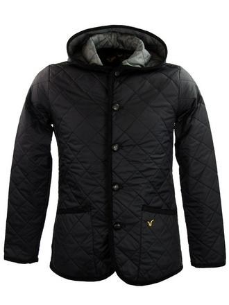 Mens Voi Jeans Hoodie Quilted Hunter Style Jacket/ Coat 'Majesty' Black Preview
