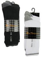 Mens Ben Sherman Sport Socks 3 Pack Set Black Or White