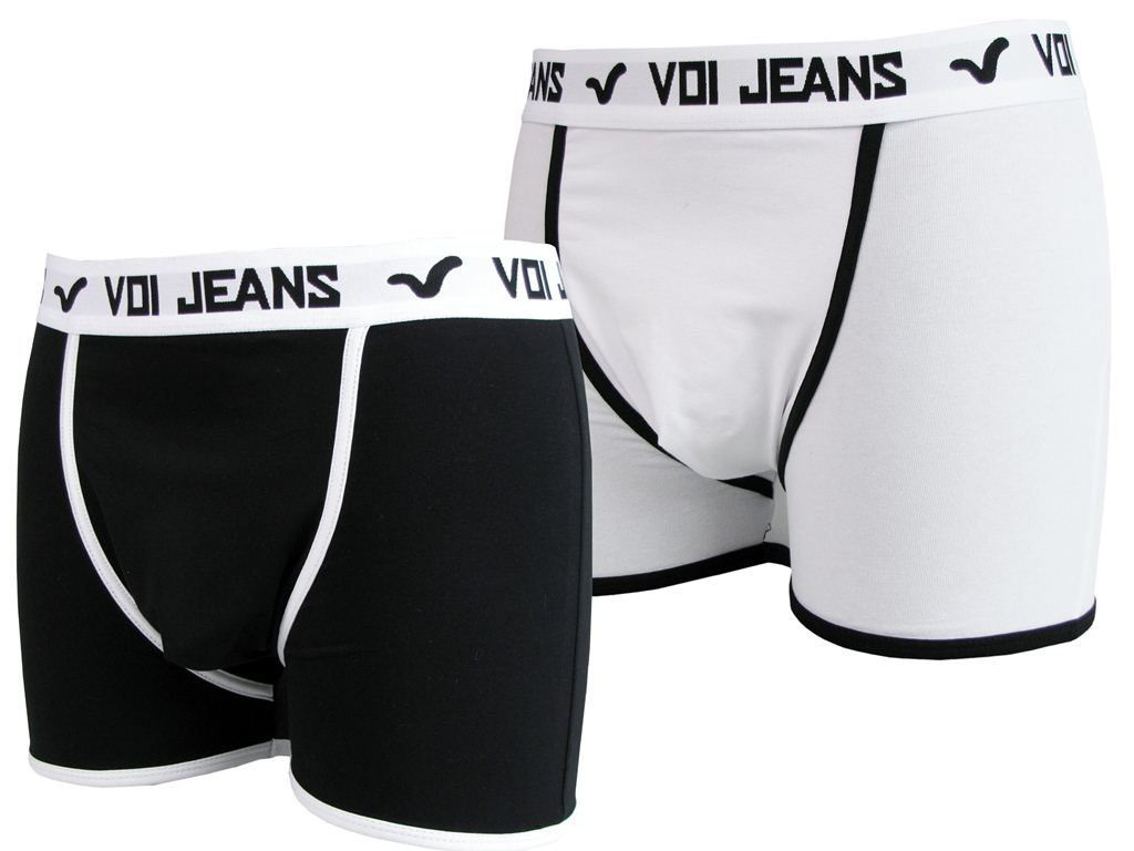 Mens Voi Boxers Shorts/ Trunks Black & White Gift Boxed Enlarged Preview