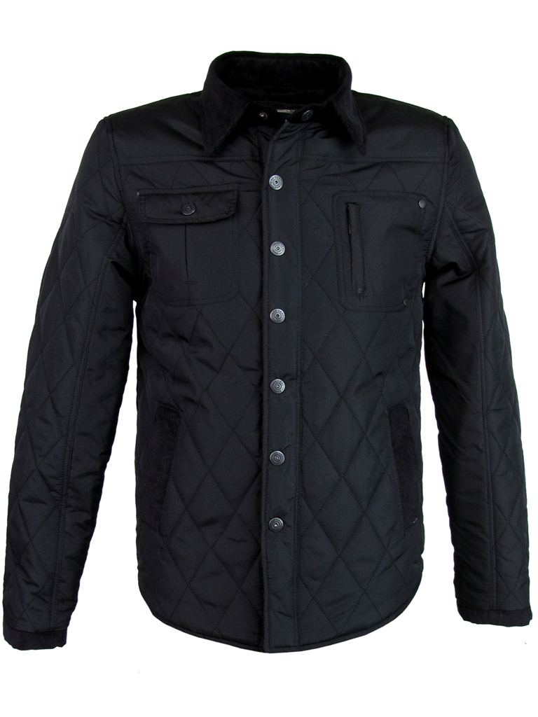 Mens Dissident Quilted 'Shotwell'  Hunter Style Military Jacket/ Coat - Black Enlarged Preview