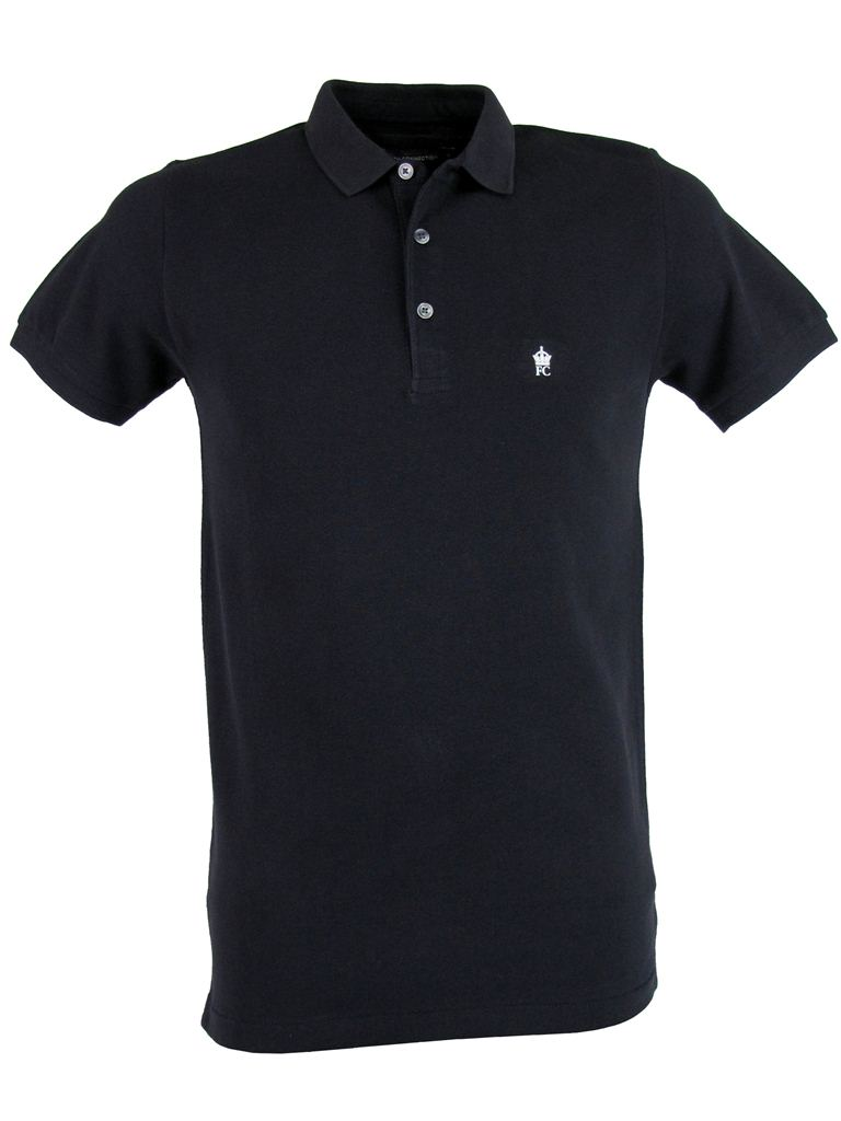 Mens-FCUK-French-Connection-Plain-Pique-Marlon-Mini-Collar-Polo-T-Shirt