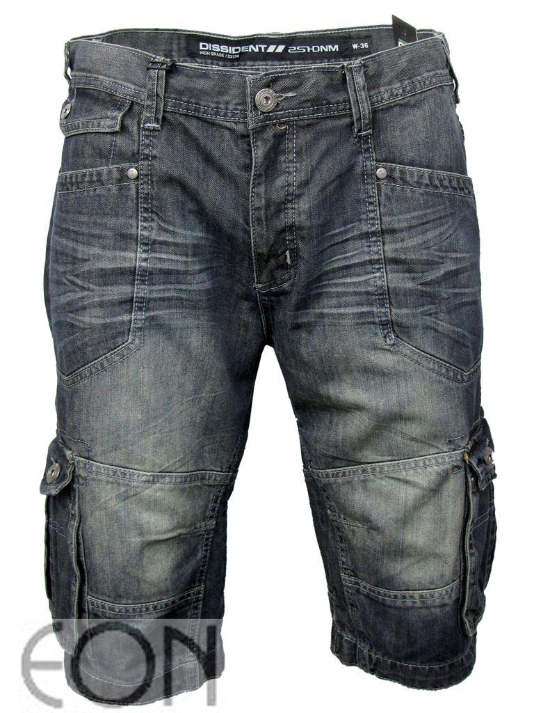Mens-Dissident-Denim-Jean-Cargo-Shorts-Utility-Vintage-Blue-Raw-Washed