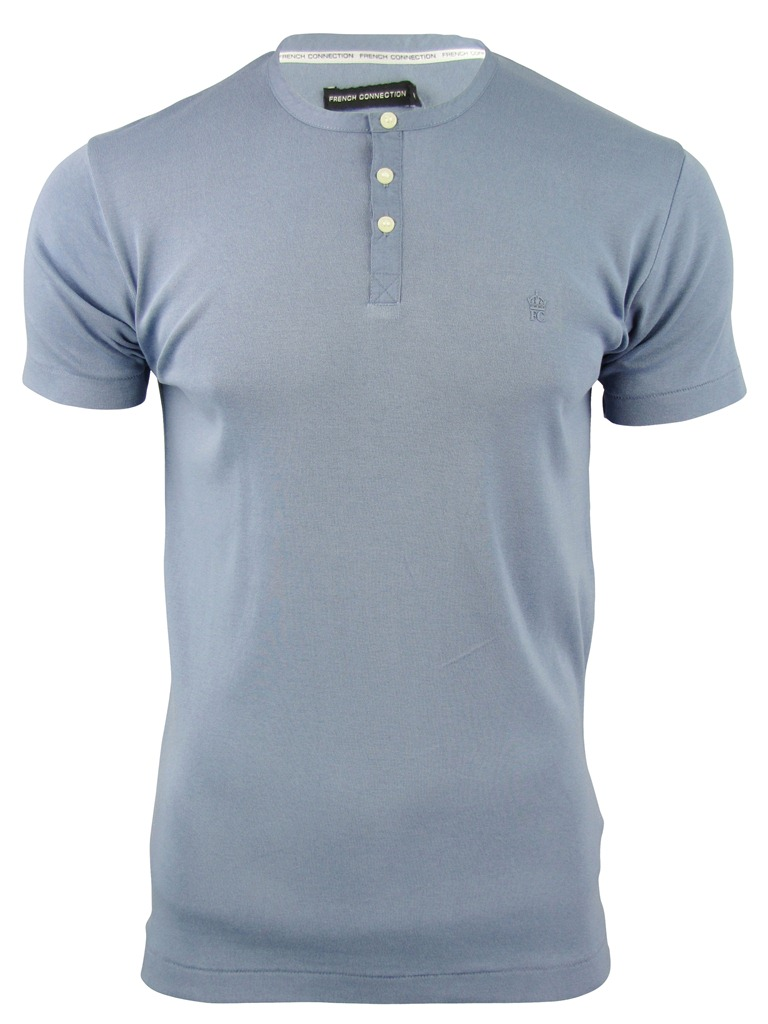 Mens french connection fcuk t shirt grandad collar grey Mens grandad collar shirt