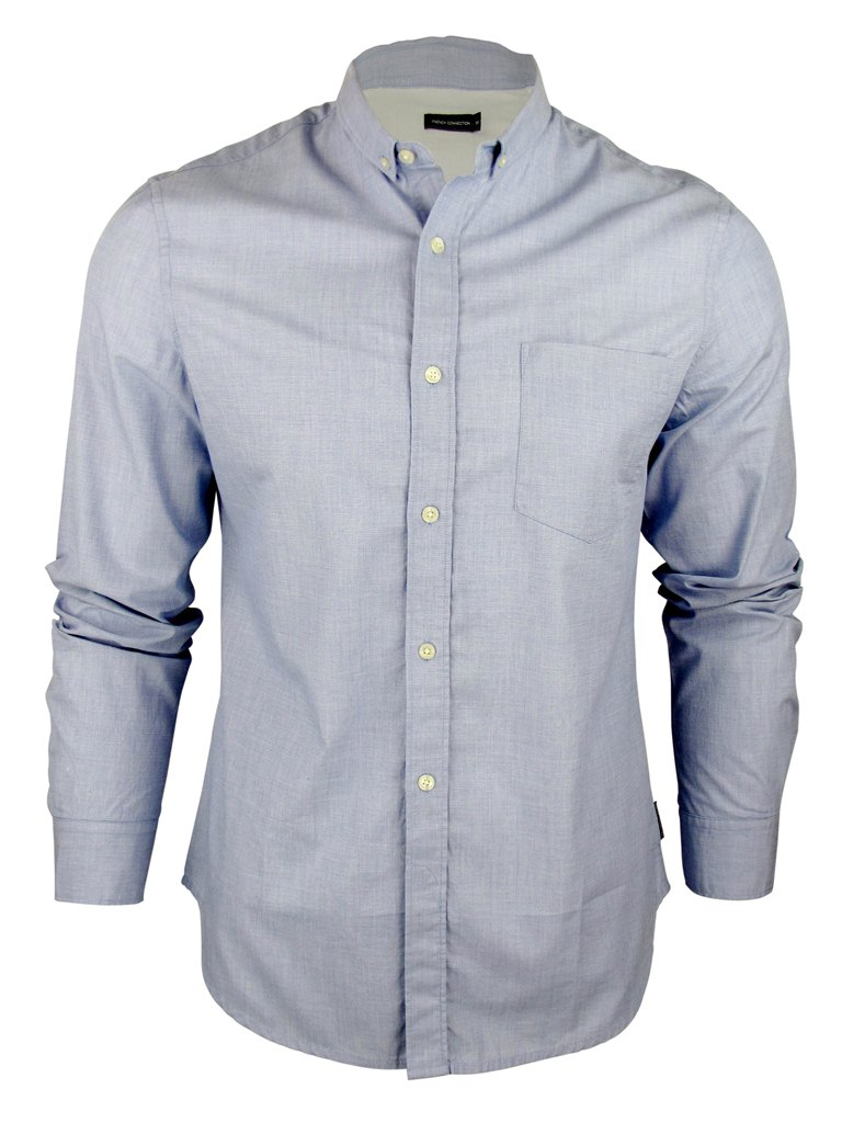 Mens French Connection FCUK S/S Shirt Anchor Chambray Button Down Mini Collar Enlarged Preview