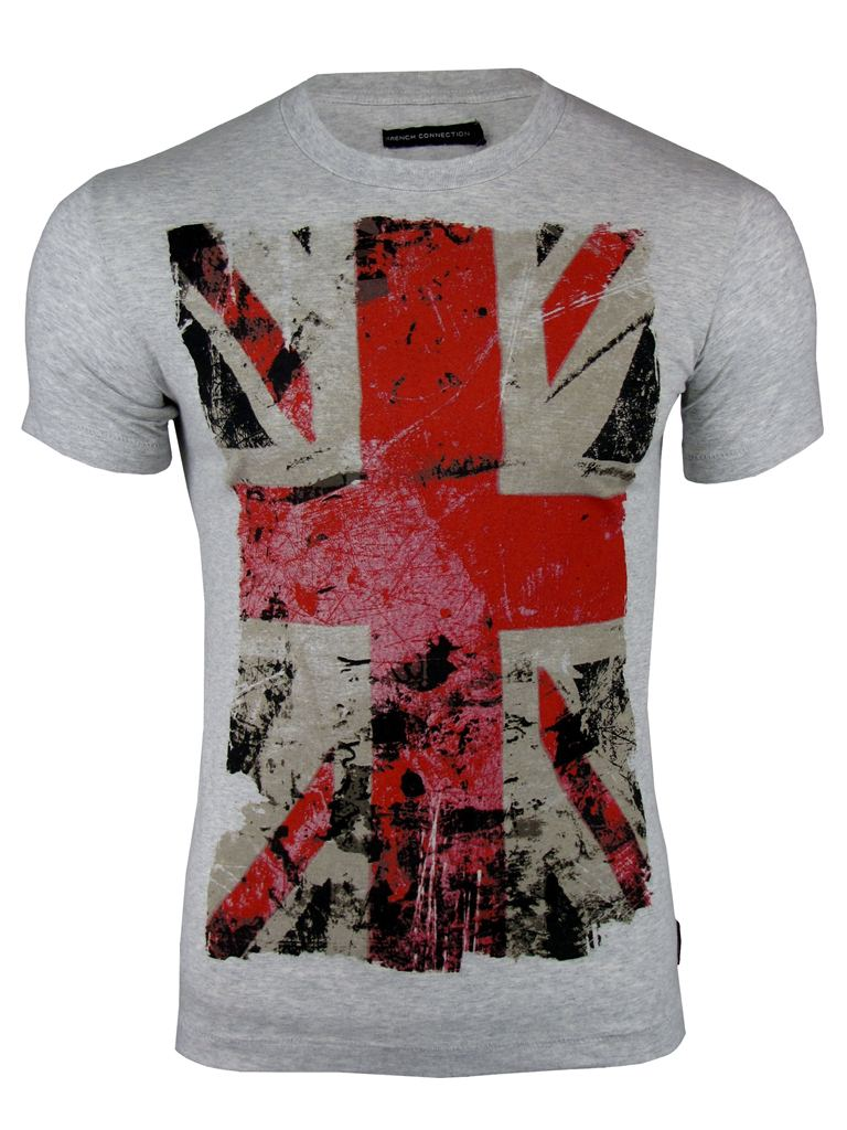 Mens French Connection/ FCUK T-Shirt Crew Neck Old Union Jack Flag Print Enlarged Preview