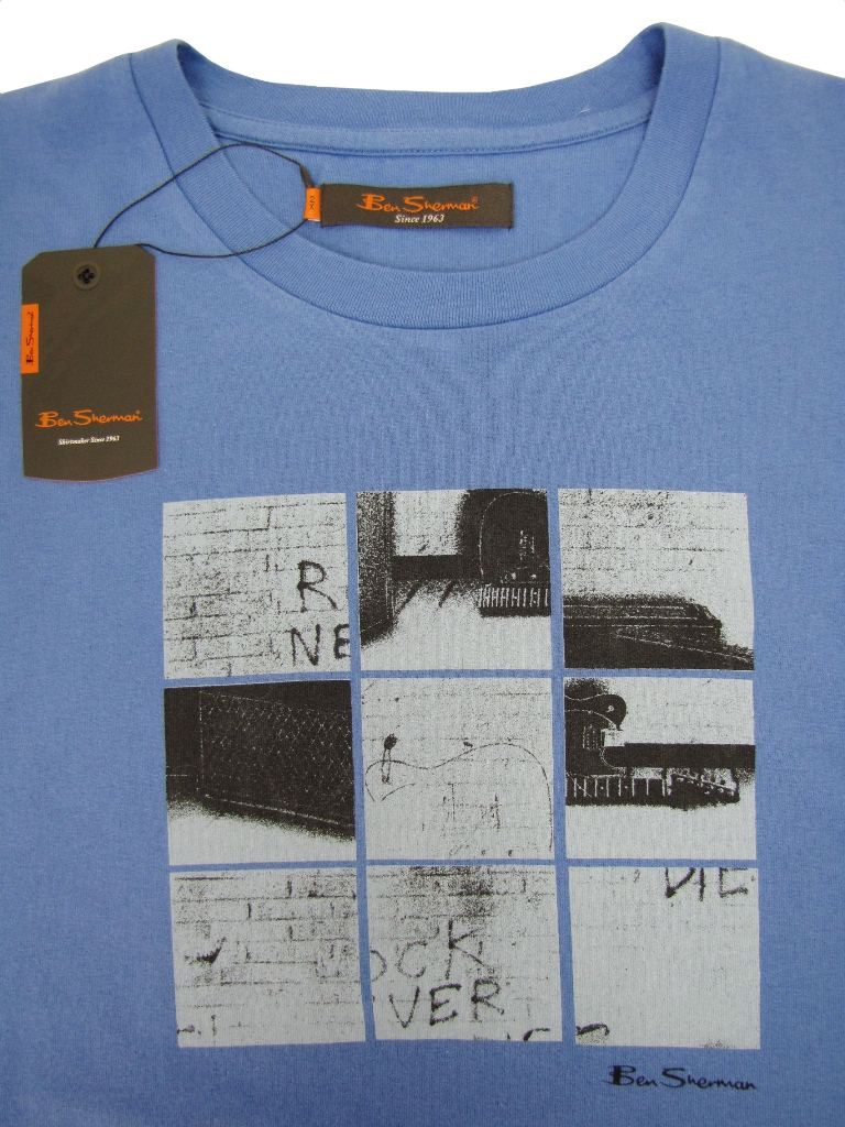 Ben Sherman Crew Neck T Shirt 'King/ Plus Size' Graphic Scooter Print - Starch Enlarged Preview