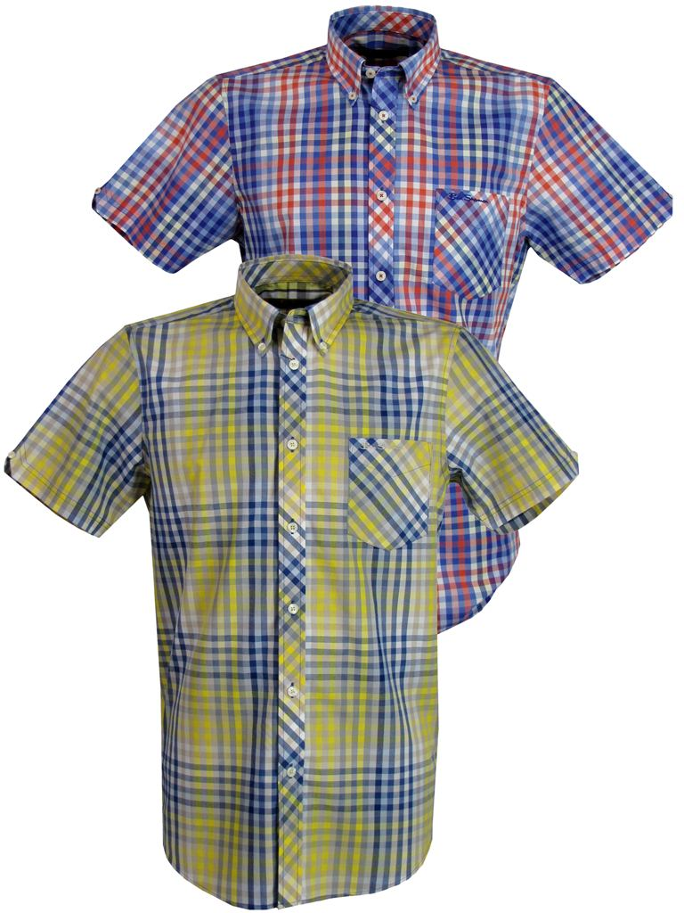 Mens Ben Sherman Shirt Short Sleeve Yellow Multi Colour Gingham Enlarged Preview