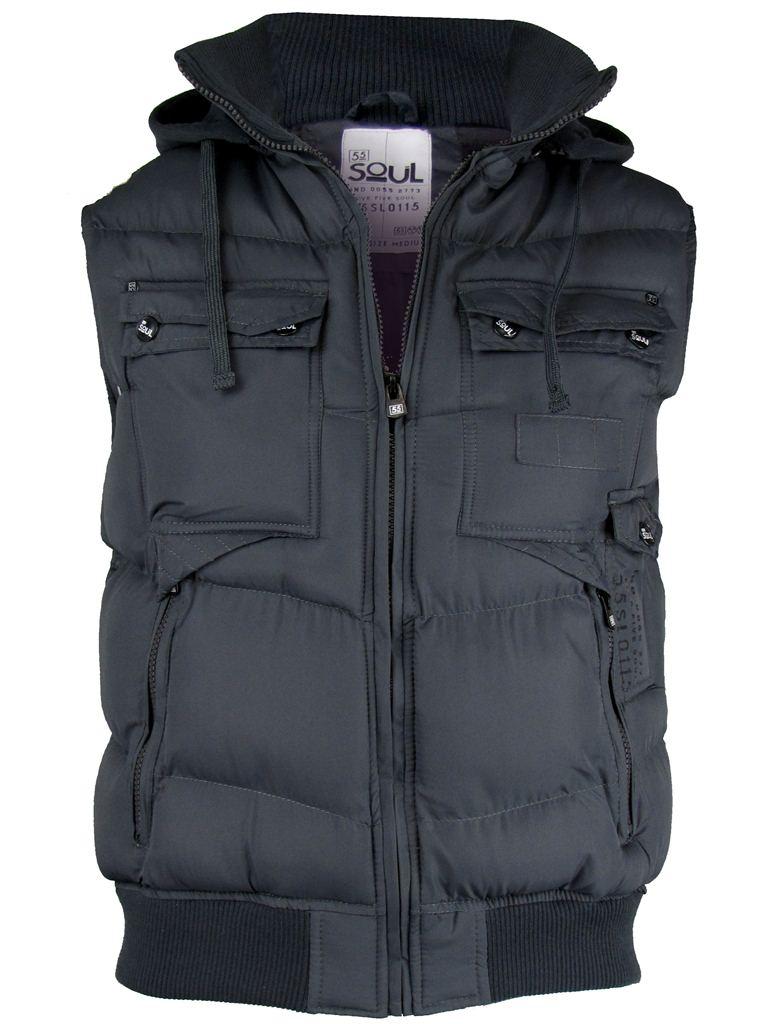 mens 55 soul hoodie padded gilet body warmer jacket coat. Black Bedroom Furniture Sets. Home Design Ideas