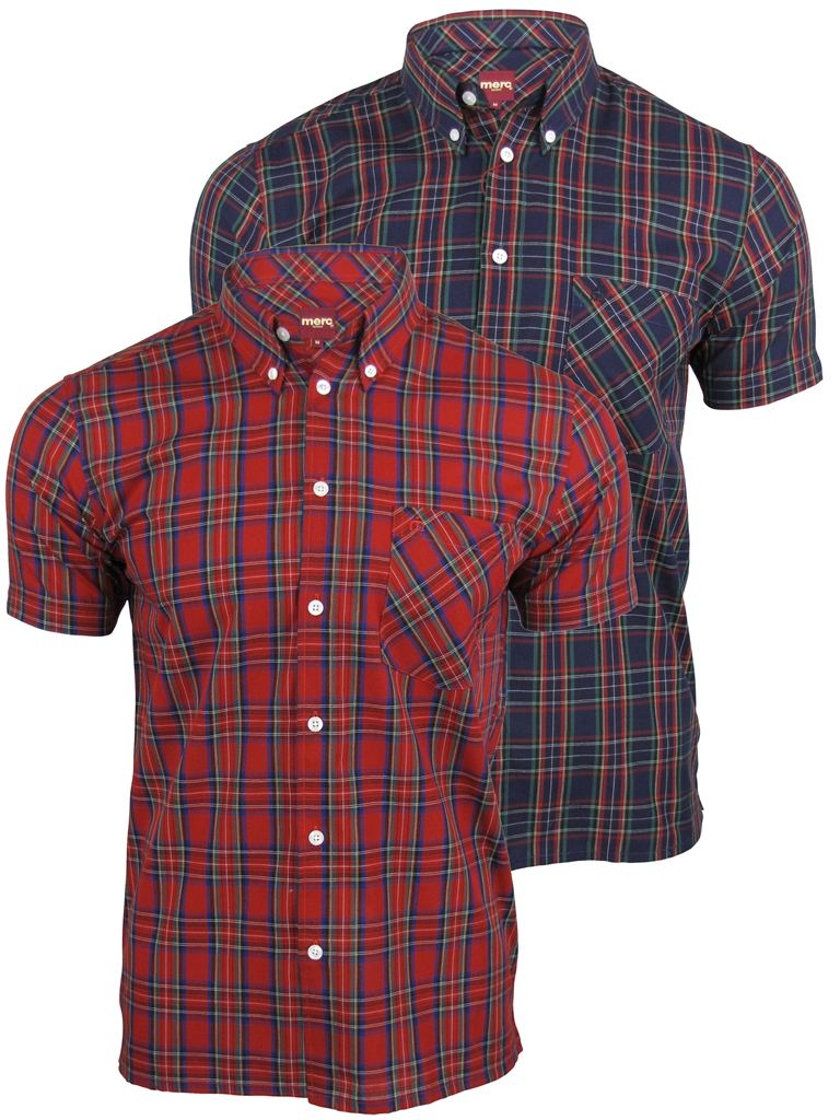Mens Merc London 'Mack' Shirt Short Sleeved Mod Retro Button Down Collar Enlarged Preview
