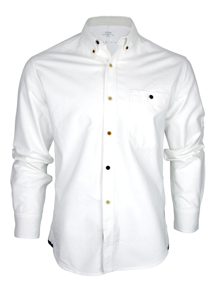 Mens French Connection Fcuk White Oxford Long Sleeved Shirt