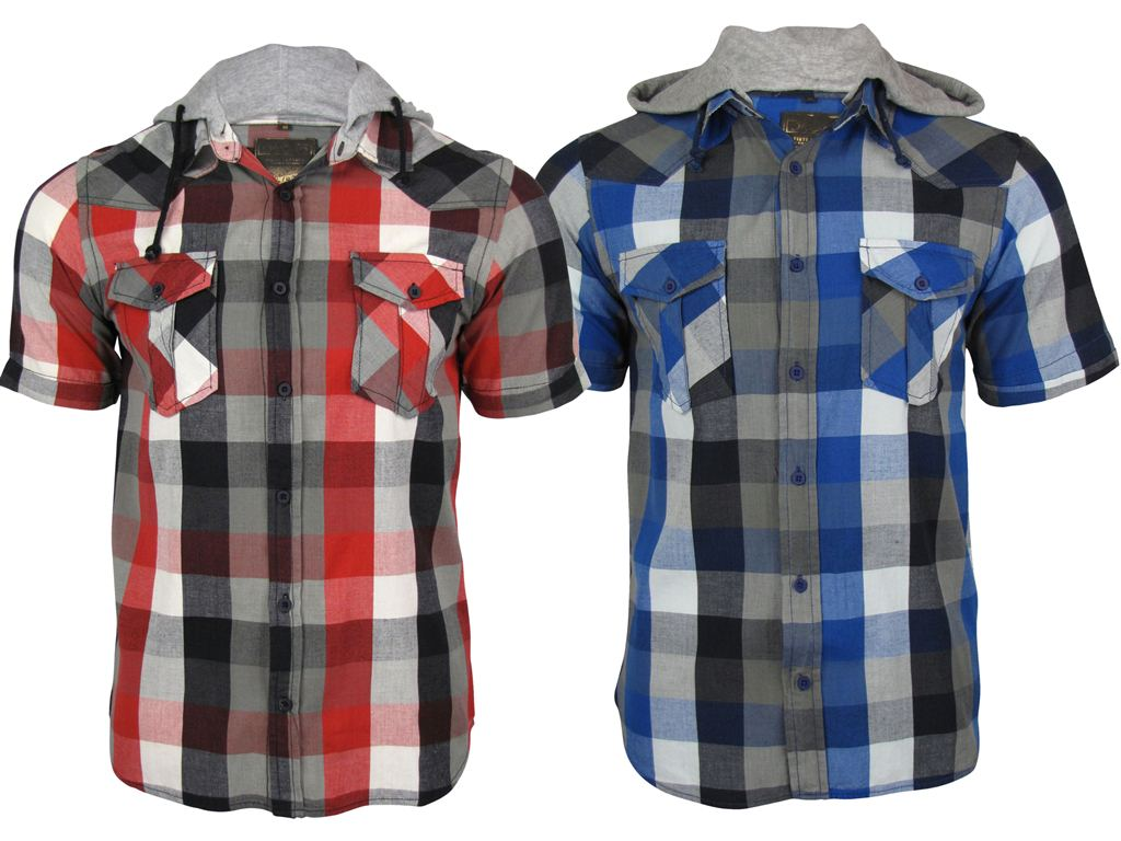 Mens Tokyo Laundry Short Sleeved Western Style Hoodie Shirt ' Big Checked - Red