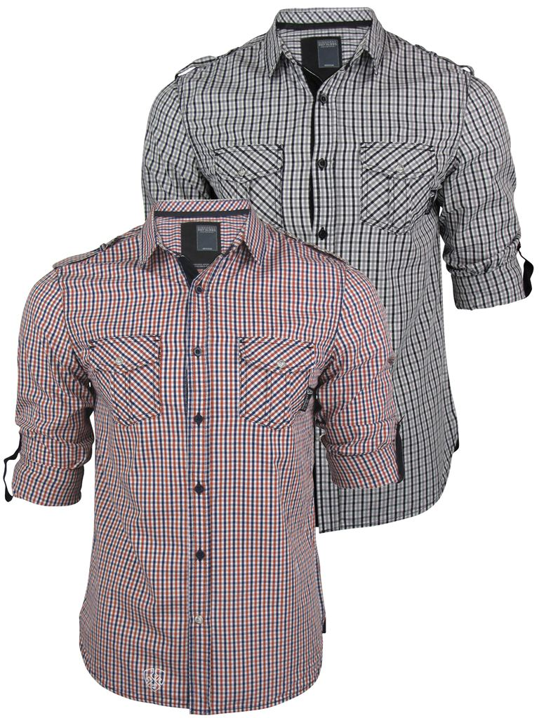 Mens Dissident Gingham Check Shirt L/S Roll Up Sleeve Black Or Red Enlarged Preview