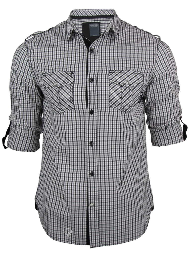 Mens-Dissident-Gingham-Check-Shirt-L-S-Roll-Up-Sleeve-Black-Or-Red