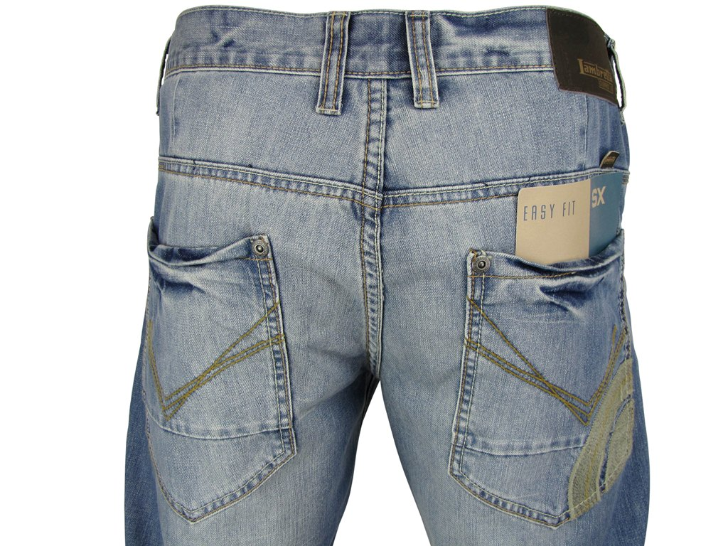 Mens Lambretta Denim Jeans Mod Retro 'Target' Vintage Stone Wash Enlarged Preview