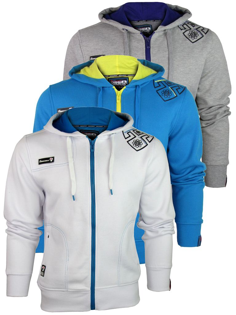 Mens-Dissident-Full-Zipped-Hoodies-DD-039-ClearHood-039-in-Grey-Sea-Blue-or-White