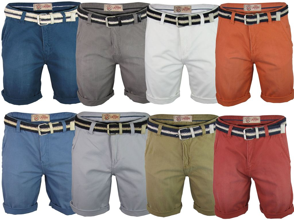 Mens Tokyo Laundry Cotton Twill Chino Shorts 'Courtesan' Free Woven Belt Enlarged Preview