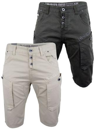 Mens Chino Cargo Shorts Crosshatch 'Rave' Retro Slate, Tobacco or Stone Preview