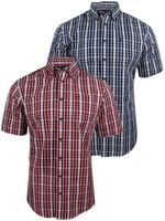 Mens Farah Classic Short Sleeved Button Down 'Easy Care' Check Shirt