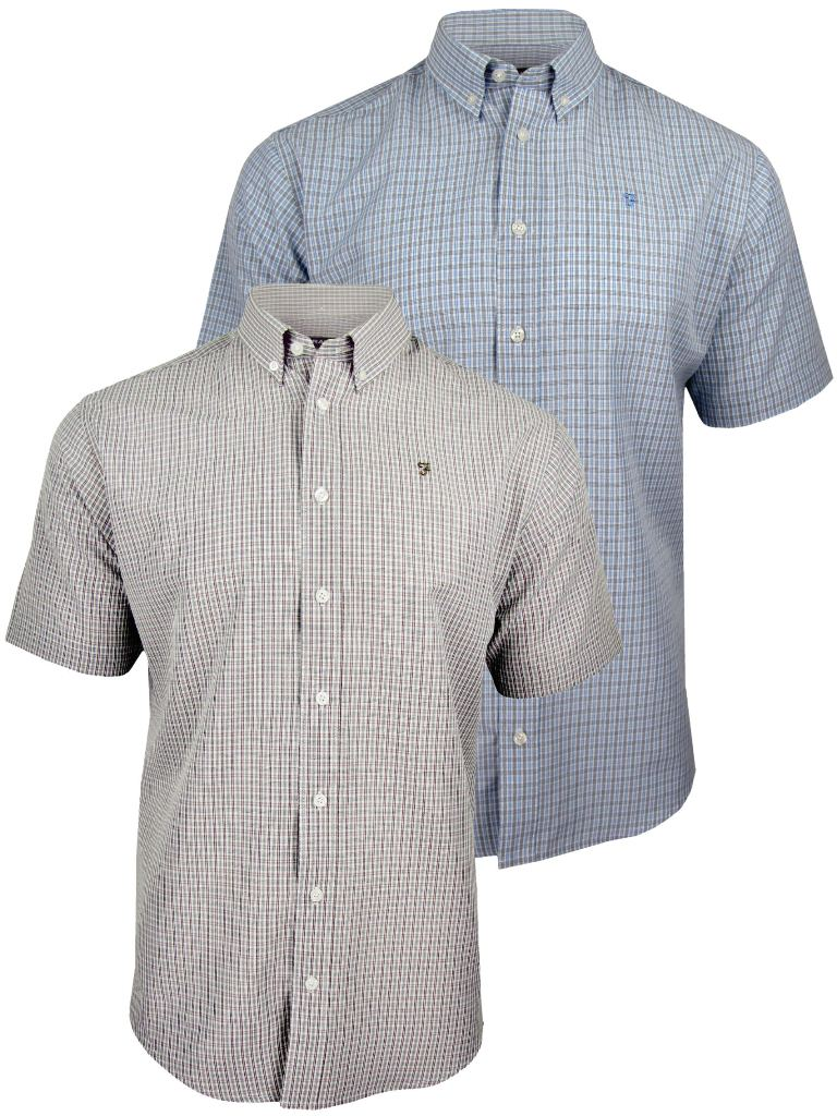 Mens Farah Classic Short Sleeved Shirt Button Down 'Easy Care' Check Enlarged Preview