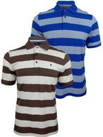 Mens Farah Classic Block Stripe Pique Polo T-Shirt Short Sleeved