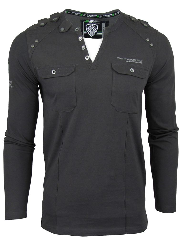 Mens-Dissident-039-Engineers-Top-039-Y-Neck-Long-Sleeved-T-Shirt