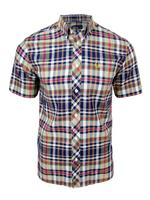 Mens Fred Perry BasketWeave Madras Short Sleeved Shirt - Pacific