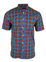 Mens Fred Perry Kingfisher Tartan Short Sleeved Shirt