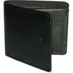 Mens Fred Perry Contrast Billfold Wallet Black Laurel Logo - Black/ Khaki