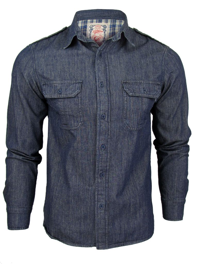 Mens Tokyo Laundry Long Sleeved Shirt 'Harris' Chambray Denim Blue Enlarged Preview