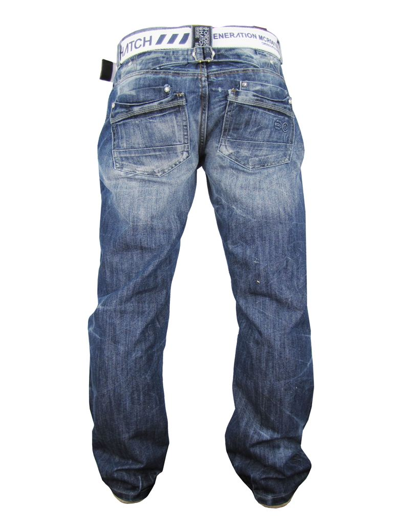 Mens Crosshatch 'Hornet 3' Belted Jean Raw Blue Denim Button Fly Enlarged Preview