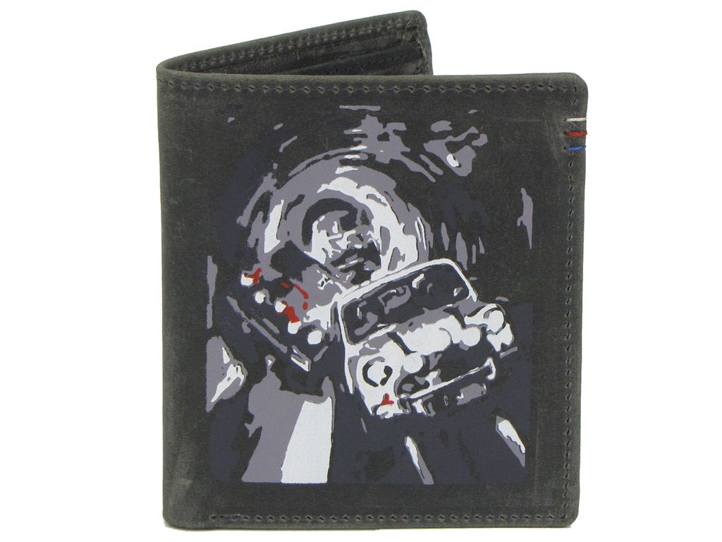 Mens Mustard Leather Wallet 'Turin Cars' - Coin Pocket Gift Boxed Enlarged Preview