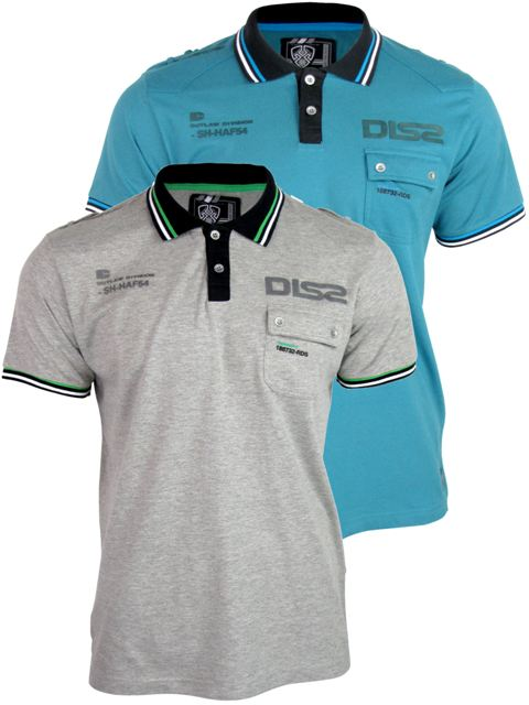 Mens Dissident '2 Pack' Polo T-Shirts DD 'FireFly' Short Sleeved - Grey & Teal Enlarged Preview