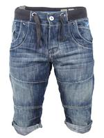 Mens Crosshatch 'HAWK' Denim Jean/ Cargo Shorts Retro Vintage Wash